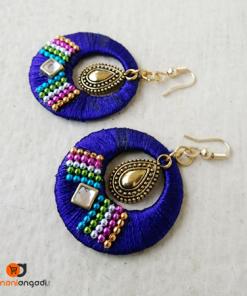 Deep Blue Silk Thread Chandbali Earrings | Ethnic Essence