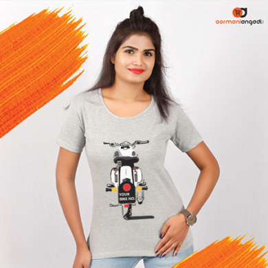 Customized Royal Enfield Number Plate T-Shirt - Women's - WHITE BIKE - grey tee